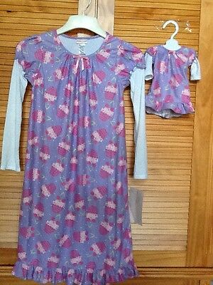 "Girls Size 12 DOLLIE & ME Purple Cupcake Nightgown & One For A 18"" Doll"