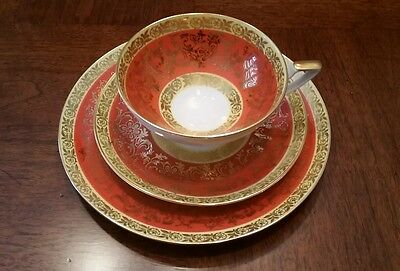 Bavaria Gold Orange White 3 Piece Trio China Tea Cup & Saucer & Plate Germany
