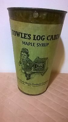 RARE Vintage TOWLE'S LOG CABIN Tree MAPLE Syrup SAP Bucket PAIL St. Paul Minn.