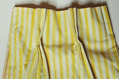 Vintage yellow ticking pleated curtains GREAT 24 in. x 25 3/4 in.  -  2 PAIR