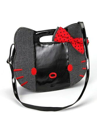 Hello Kitty Women's Large Black & Red Face Crossbody Shoulder Bag HP3067798 NEW