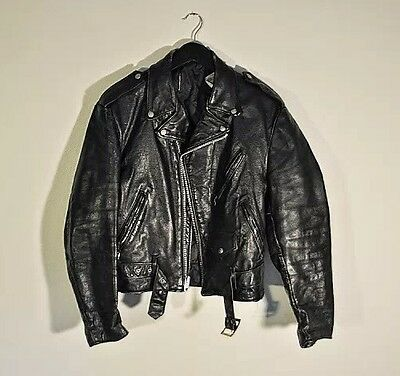 Mens Vintage Black Schott USA Made Perfecto Motorcycle Leather Jacket L XL 42
