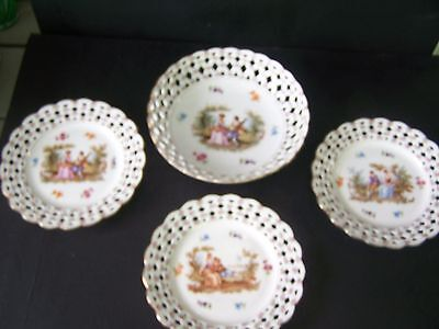 4 Schumann Germany China Reticulated Romantic pattern 1924 WWII Bowl & 3 Plates