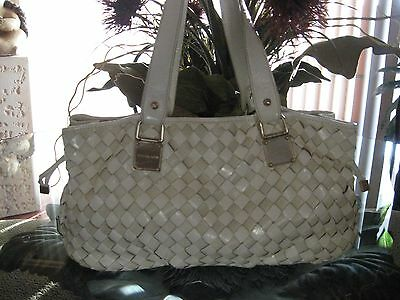 MICHAEL KORS LG WHT WOVEN NEWBURY SHOULDER SATCHEL HANDBAG  BAG-EXCELLENT COND
