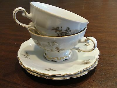 MITTERTEICH CHARMING BARBARA 2 CUPS + 2 SAUCERS W/ FLOWER