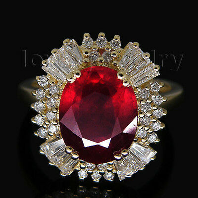 6.50CT Natural Brilliant Diamond Blood Ruby Ring Solid 14K Yellow Gold Genuine