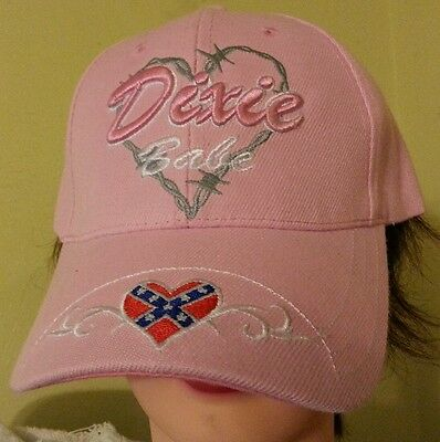 """PINK """"-DIXIE BABE"""" CAP-HAT WITH CONFEDERATE BATTLE FLAG DESIGN AND REBEL HEART !"""