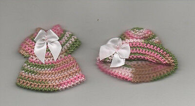 "HANDMADE CROCHET KNIT SEW KELLY DOLL 4 1/2"" DRESS HAT VARIGATED PINK GREEN & BOW"