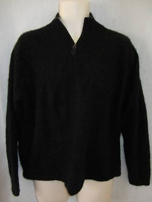 Daniel Bishop 100% Cashmere Black Half Zip Sweater mens XL L Short