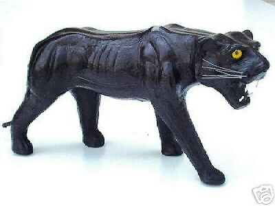 "6"" Leather Panther* (Leatherines) *decorative Piece *free Shipping!!!"