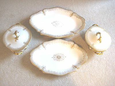 LIMOGES Wm Guerin Set of 4 Platters and Casserole Dishes Gold Trimmed Pattern