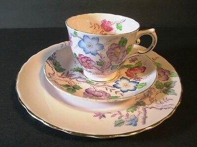 TUSCAN CATHAY Bone China Pink and Floral DESSERT SET Tea Cup Saucer Plate 3 Pc