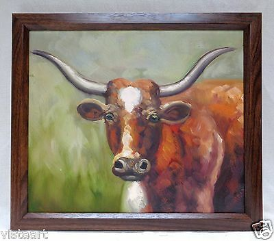 oil painting on canvas panel longhorn w vintage style wood frame