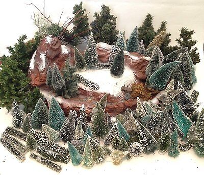 Lemax Dept 56 Two Tier Village Waterfall w Lot Trees Pine Bushes Snow Christmas