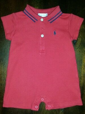 RALPH LAUREN BABY, ONE-PIECE ROMPER, RED WITH NAVY, SHORTS, 6-9 MO