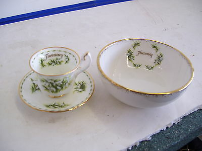 Royal Albert Miniature Cup/Saucer/Bowl--Flower Of The Month-JANUARY-Snowdrops