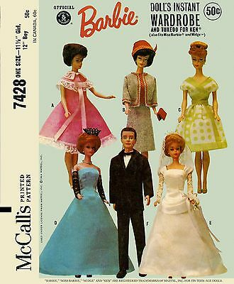 Vintage Barbie Doll McCall's 7428 Wardrobe Clothes Sewing Pattern