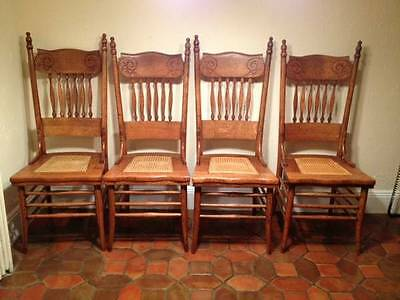SET OF 4 Matching Oak Pressed Back Chairs ANTIQUES- 1900's Rabbit Ear