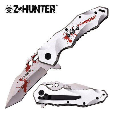 Z-Hunter Zombie Tactical Spring Assisted Pocket knife with clip -Silver