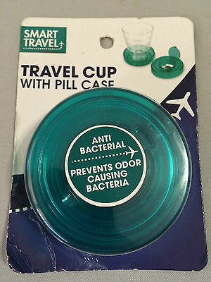 smart travel cup with pill case teal green
