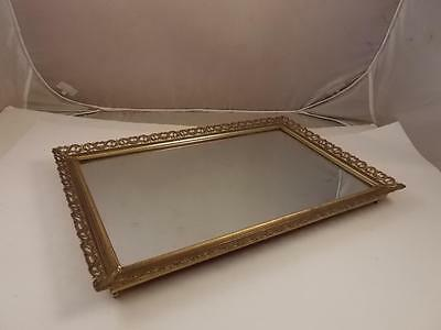 Vintage Perfume Vanity Mirror Tray Dresser Footed With Gold Filigree Edges