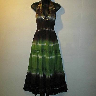 Dress Fits M L XL SEXY Sequin Gold Embroidery Empire Waist Brown Green Lace 100