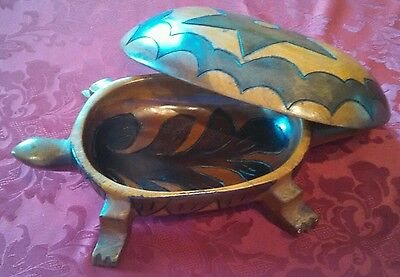 Vintage hand carved wood turtle box made in Haiti rare Unique LARGE