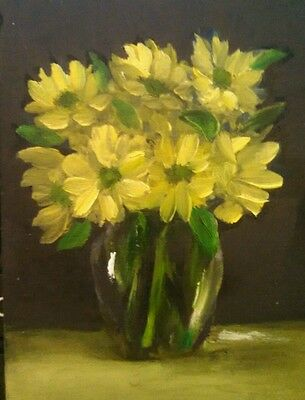 Original ACEO OIL Painting  by Carole Carter.   Flower Garden ATC Yellow Flowers