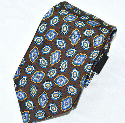 $55 Countess Mara Men's Dress Shirt Suited Neck Tie Silk Brown Traditional Print