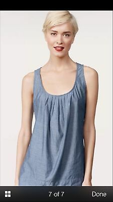 CAbi Romp Top Sleeveless Cami Spring 2012 Blue Chambray 100% Cotton Size XS 883