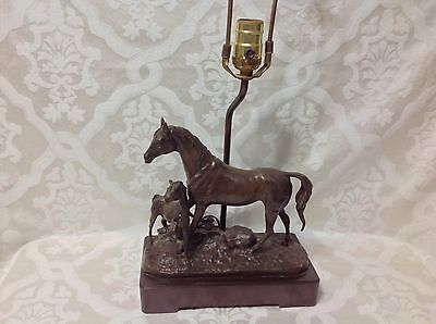 1950 Beautiful Bronze Figural Lamp with Horse and Foal in Pasture/Wood Base