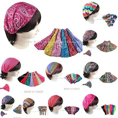 6 Women Bohemian Headwrap Headband Bandana Turban Twist Knot Lace Wholesale Lot