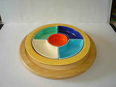 Vintage Fiesta Ware Early Relish Tray All 6 Original Colors w/Oak Turn Table Ex