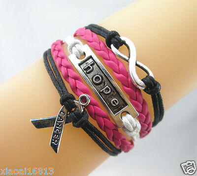 FASHION Infinity/Hope/Breast Cancer Awareness Sign Leather Braided Bracelet HOT