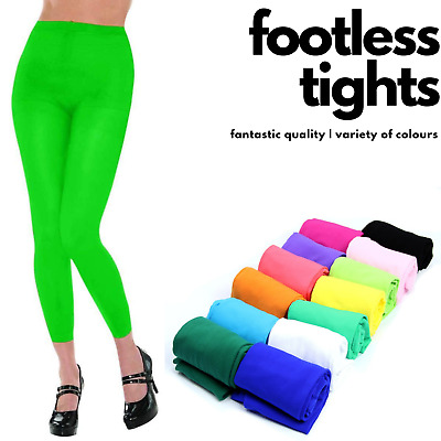 FOOTLESS TIGHTS Ladies Full Length Stretch Opaque Soft Sexy Dance Pantyhose New