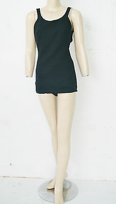Vintage 60's Atomic Rockabilly Pin Up Black One Piece Swimsuit Bathing Suit