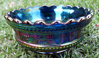"""Northwood ELECTRIC BLUE """"Peacock at the Fountain"""" Carnival Glass Berry Bowl 1908"""