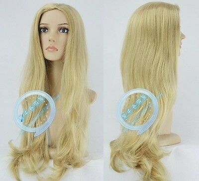 100% New extra Long Wavy blonde mix healthy No bangs hair lady's Full wig