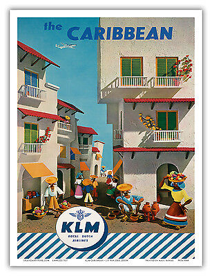 Caribbean Vintage KLM Royal Dutch Airlines Art Poster Print