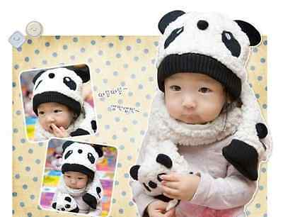 Fashion Winter Baby Toddler Girl Boy Warm Beanie Scarf Set Cute Panda Hat Cap