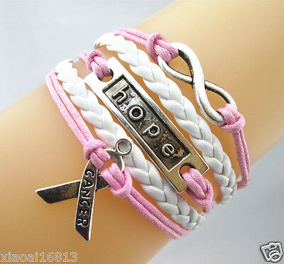 Fashion Infinity/Hope/Breast Cancer Awareness Sign Leather Braided Bracelet NEW