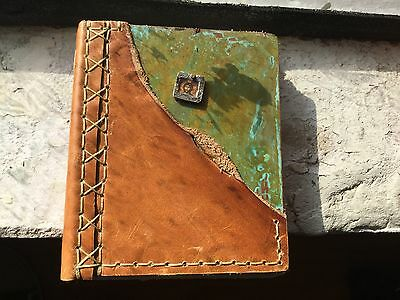 Handmade Journal Leather Copper Adiya Creations Blank Heavy White Pages