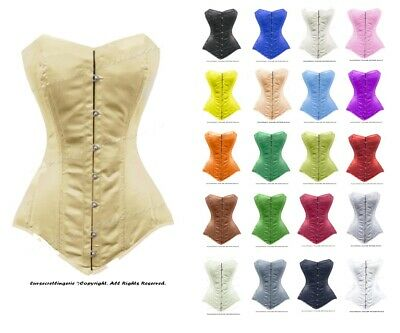 26 Double Steel Boned Waist Training Satin Long Torso Overbust Corset #8555-OT