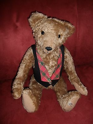 """Curly Mohair 21"""" Tall Theodore in vest made by Friendship Teddy Bear Factory"""