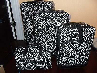 American Flyer Extreme Lightweight Zebra 4 Piece Canvas Luggage Bags Set