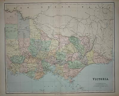 1898 VERY LARGE VICTORIAN MAP ~ VICTORIA AUSTRALIA ~ 26 x 21 inches + INDEX