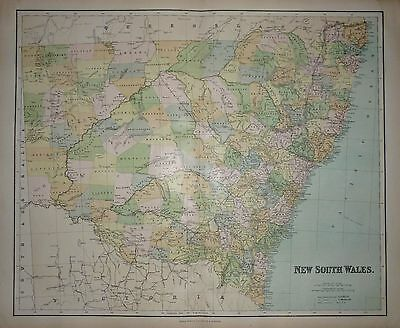 1898 VERY LARGE VICTORIAN MAP ~ NEW SOUTH WALES AUSTRALIA 26 x 21 inch + INDEX