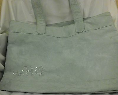 BEAUTICONTROL -  WHO FOUNDATION -  LOGO GREEN LEATHER TOTE BAG 6X12X18 - USED