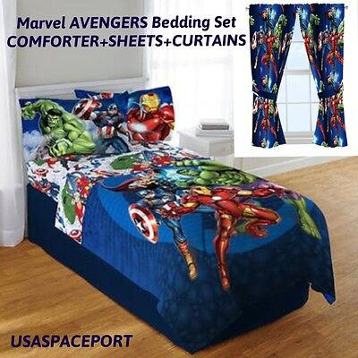 9pc Marvel AVENGERS Full-Double COMFORTER+SHEETS+CURTAINS SET Bed in a Bag Room