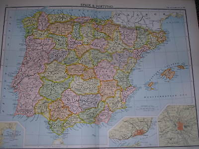 1898 LARGE VICTORIAN MAP SPAIN AND PORTUGAL